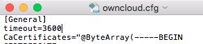 owncloud.cfg am Mac bearbeiten